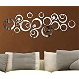 Coavas Mirror Wall Stickers 3D Design Modern Metal Surface Decoration For Bedroom Living Room Wall Decals Circles