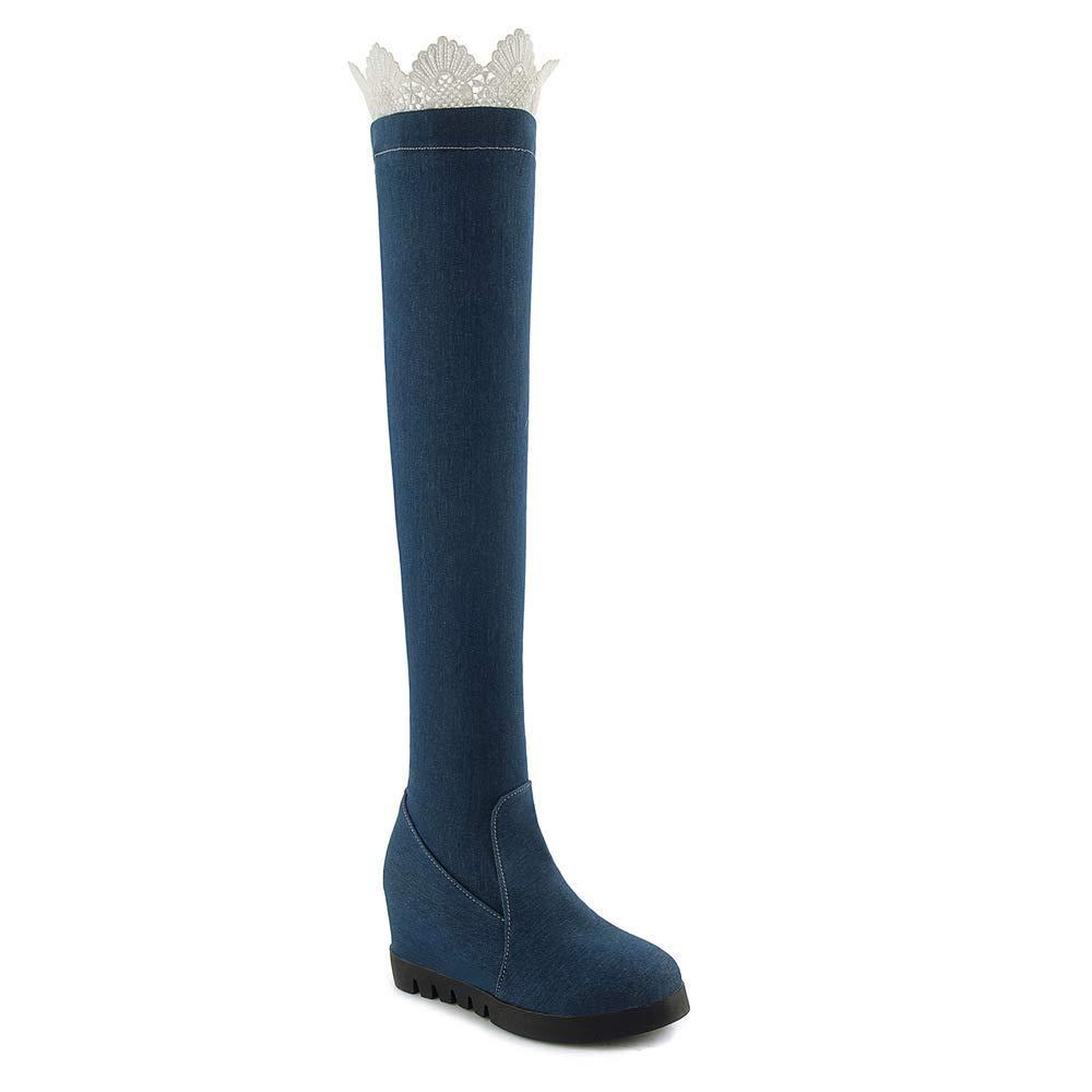 HOURNJIE Damen Über Das Knie Stiefel 2018 Herbst Heel Winter Spitze High Heel Herbst Denim Stiefel 1c4d70