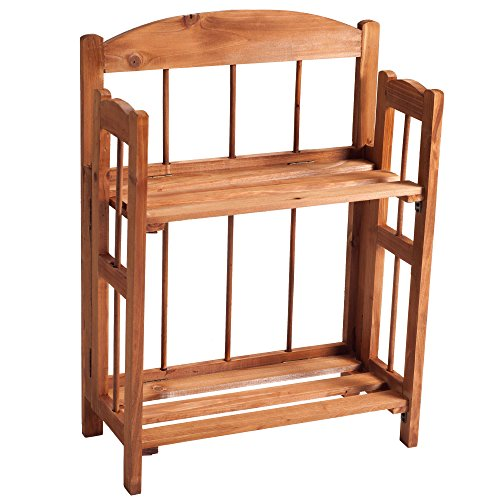 Bookcase for Decoration, Home Shelving, and Organization by Lavish Home- 2 Shelf, Folding Wood Display Rack for Home and Office (Light Brown) - Set Traditional Bookcase