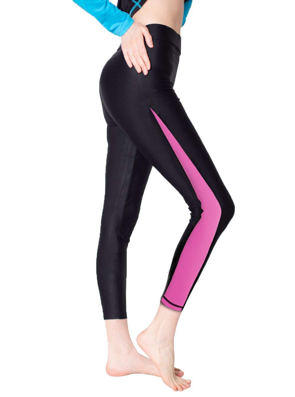 Women Swim Tight Leggings-Swimming Pants Pink S