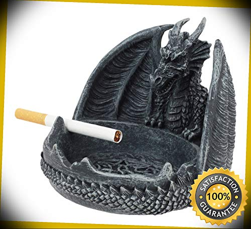 KARPP Mythical Guardian Dragon with Celtic Knotwork Round Cigarette Ashtray Statue Perfect Indoor Collectible Figurines
