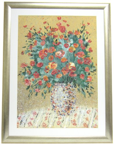 Bordeaux Collection Mirror (Alpine Art & Mirror Bordeaux Collection A Still Life of Red Flowers in Silver Frame)