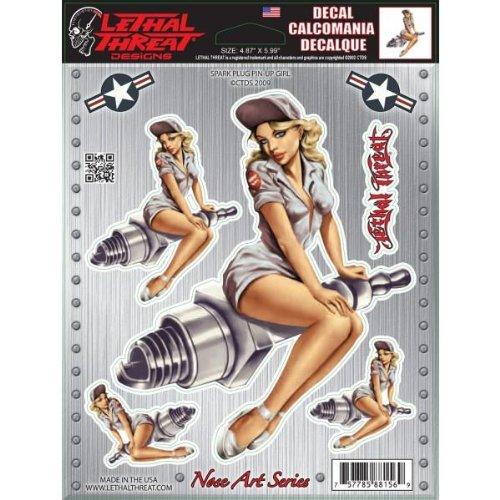 Lethal Threat Nose Art Spark Plug Pin-up Girl Decal LT88156