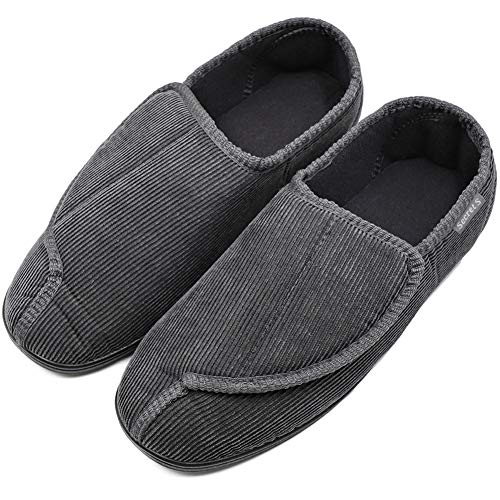 Men's Diabetic Orthopedic Shoes Memory Foam Cozy Warm Slippers Coral Fleece Adjustable House Footwear Wide Fit Cushioned for Swollen Edema (12, Comfy - Gray)