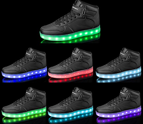 Shinmax Light Up Schuhe, LED Schuhe LED Turnschuhe Breathable 7 Farben Light Schuhe für Männer & Frauen, Kid Schuhe Schwarzer Erwachsener
