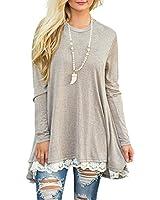 WEKILI Women's Tops Long Sleeve Lace Scoop Neck A-line Tunic Blouse Khaki S/US 4-6