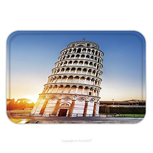 Flannel Microfiber Non-slip Rubber Backing Soft Absorbent Doormat Mat Rug Carpet Pisa Place Of Miracles The Leaning Tower And The Cathedral Baptistery Tuscany Italy 188157257 for - Place Water Tower Map