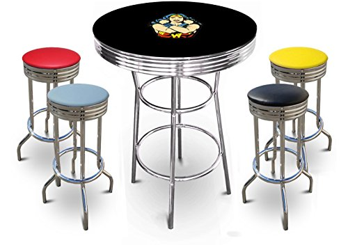 The Furniture Cove New Wonder Woman Themed Chrome Metal Bar Table Set with Black or White Top and 4 Vinyl Bar Stools (Wonder Woman Face, Black Table)
