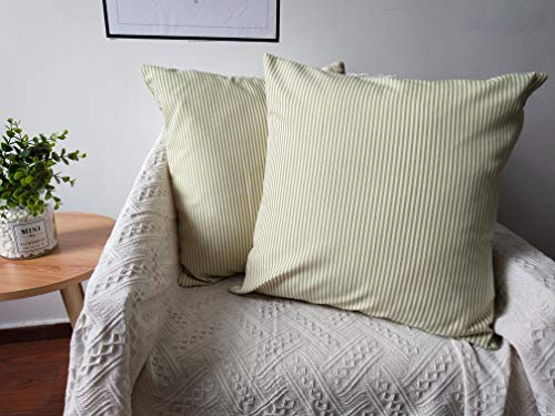 CHICCAT 2 Pack Ticking Stripe Pillow Cover French Ticking Pillow Cotton Linen Square Decorative Throw Pillow Case Cushion Cover 18 X 18 inches (Green)