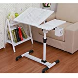 Laptop Desk Portable Table Adjustable Height and Tilt with Rolling Casters and Vents Over Sofa Bed Table (White)