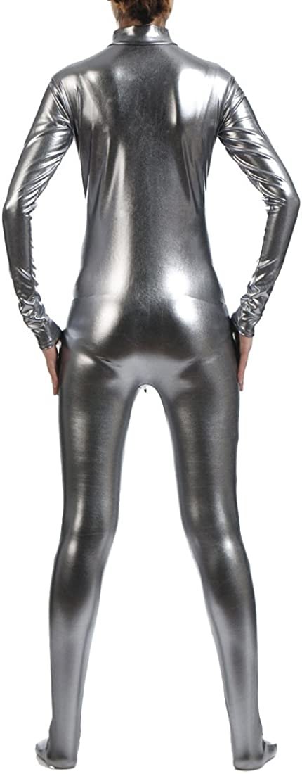 Seeksmile Unisex Metallic Lycra Front Zipper Bodysuit Zentai without Hood