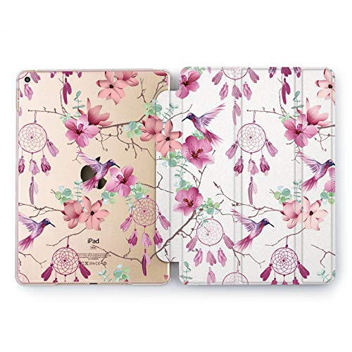 Wonder Wild Floral Dreamcatcher Apple iPad Pro Case 9.7 11 inch Mini 1 2 3 4 Air 2 10.5 12.9 2018 2017 Design 5th 6th Gen Clear Smart Hard Cover Boho Indian Floral Orchid Hummingbird Pattern Girly