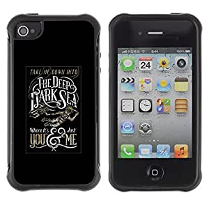 Suave TPU Caso Carcasa de Caucho Funda para Apple Iphone 4 / 4S / Deep Dark Sea Black Poster Text / STRONG