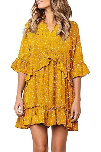 Chvity Polka Dot Petite Dresses for Women Summer V Neck Half Sleeve Short Mini Loose Dress (Small, Yellow)