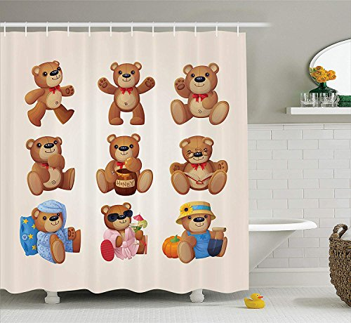 SPXUBZ Cartoon Cute Happy Toy Teddy Bears with Funny Different Faces Nostalgic Kids Design Chocolate Cream Shower Curtain Waterproof Bathroom Decor Polyester Fabric Curtain Sets with Hooks