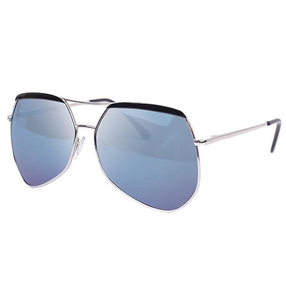 Vivienfang - Lunettes de soleil - Homme Blue Frame Blue Mirror h01wSoa7F