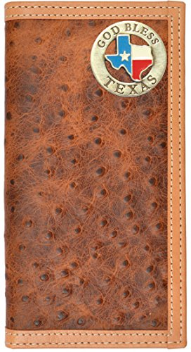 Brown Leather God Custom Ostrich Long Wallet Texas Bless Print gHngRqz
