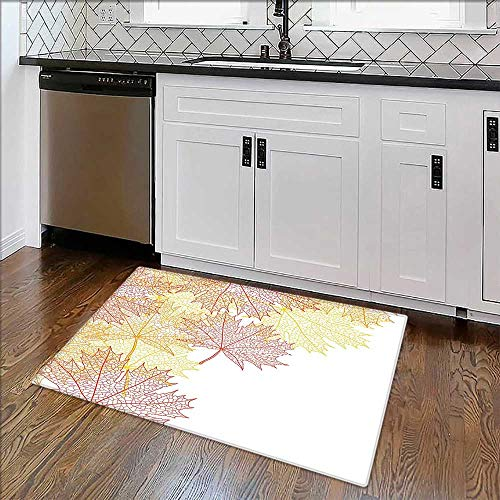 Artistic Rugs Collection Pattern Maple Tree Fall Leaves Skeleton Dried Golden Forms Halloween Decoration Bath Mat Non Slip Absorbent