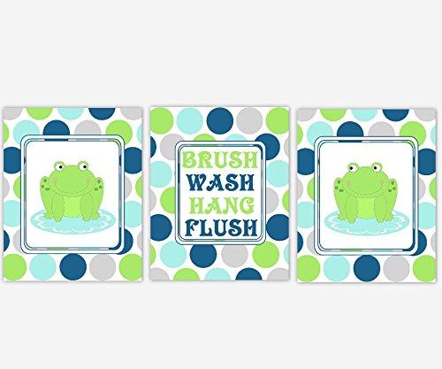 Frog Kids Bath Wall Art Children Bathroom Decor Prints Brush Wash Hang Flush Rules SET OF 3 UNFRAMED PRINTS