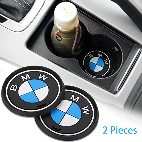 Carhome01 Car Logo Cup Holder Coaster,2.6 Inch Diameter Oval Vehicle Travel Anti Slip Mat Auto Interior Decoration Pad for BMW Accessories(2PCS)