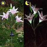 Homeleo Outdoor Solar Easter Lily LED Flower Light, Solar Garden Stake Flowers, Solar Powered Artificial Lilium Longiflorum(Pink)