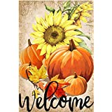 LHSION Pumpkin Sunflowers Garden Flag 12.5 x 18 Inch Welcome Fall Garden Flag Decorative House Yard Double Sided Flag for Ind
