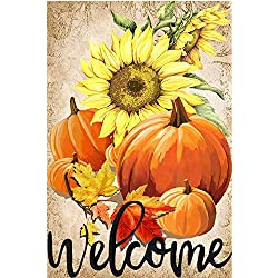 LHSION Welcome Pumpkin Garden Flag 12.5 x 18 - Autumn Sunflowers Garden Flags Decorative House Yard Double Sided Flag for Indoor & Outdoor Decoration