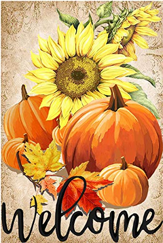 LHSION Welcome Fall Pumpkin Garden Flag 12.5 x 18 - Autumn Sunflowers Thanksgiving Garden Flag Decorative House Yard Double Sided Flag for Indoor & Outdoor Seasonal Holiday Decoration