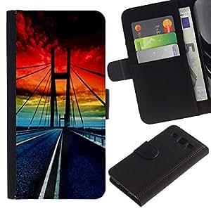 LASTONE PHONE CASE / Lujo Billetera de Cuero Caso del tirón Titular de la tarjeta Flip Carcasa Funda para Samsung Galaxy S3 III I9300 / Golden Gate Bridge Sunset Vibrant