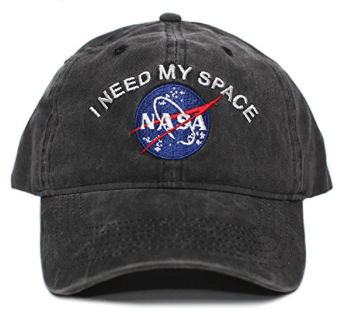 NASA I Need My Space Pigment Dye Embroidered Hat Cap Unisex Adult Multi (Black),One Size