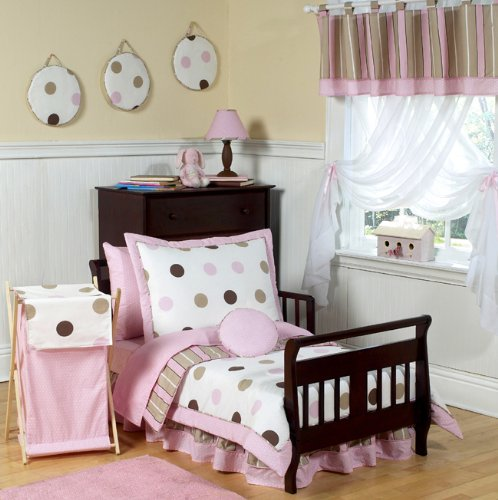 Sweet Jojo Designs Bed Skirt for Pink and Brown Modern Polka Dots Toddler Bedding