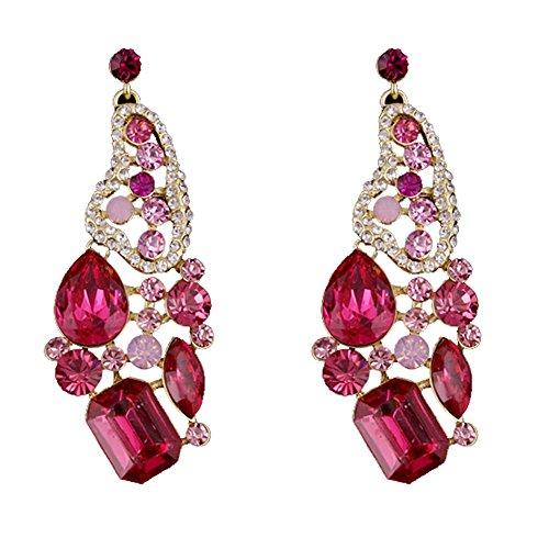 Womens Butterfly Earrings EVBEA Sparkle Long Statement Pink Crystal Drop Earrings(8,PK) (Rhinestone Earrings Butterfly)