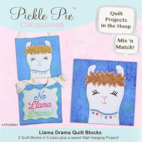 Pickle Pie Designs PPDQM01 Llama Drama Mix N Match Quilt Blocks Machine Embroidery Design CD Pattern
