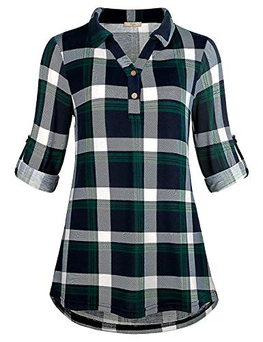 Cestyle Ladies Tunic Tops,Tartan Shirts Roll Tab Sleeve Plaid Button Down Lapel Collar Slim Fit Blouse Knitted Lightweight Office Wear Scottish Clothing Blue&Green Medium