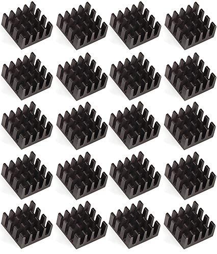 Easycargo 20pcs 14mm Heatsink 14x14x7mm, Black Anodized Heat Sink for Cooling Cooler GPU Chips VRAM VGA VRAM RAM (14mmx14mmx7mm)