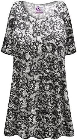 Black & White Lace Print Plus Size Supersize Poly/Cotton Extra Long T-Shirt