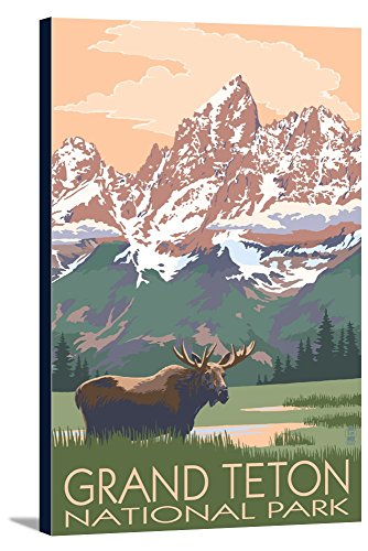 Teton Pines Bedroom - Grand Teton National Park - Moose and Mountains (12x18 Gallery Wrapped Stretched Canvas)