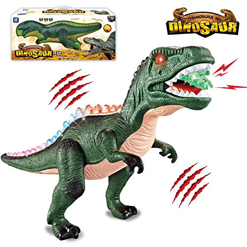 HOMOFY Walking Large Size T-Rex Dinosaur Toy with Flashing Lights & Real Roaring Glowing Eyes Best Gift Toys for Kids Toddlers Boys & Girls 3 4 5 6 7 8+ Years Old -