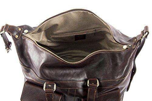 Tasche PIERRE CARDIN braun leder reiseitasche für reise mit schultergurt VM4