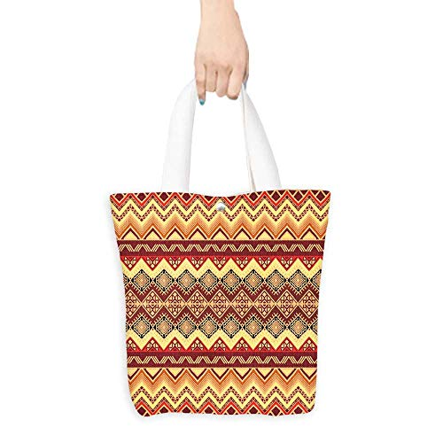 (Foldable Shopping Bag Hand drawn seamless pattern in boho style Abstract wallpaper with ethnic aztec ornament (W15.75 x L17.71 Inch))