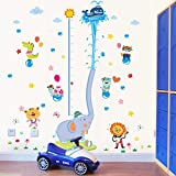 DecalMile Animal Elephant Height Chart Wall Decals Kids Room Wall Decor Removable Wall Stickers for Kids Bedroom Nursery Baby Room Living Room