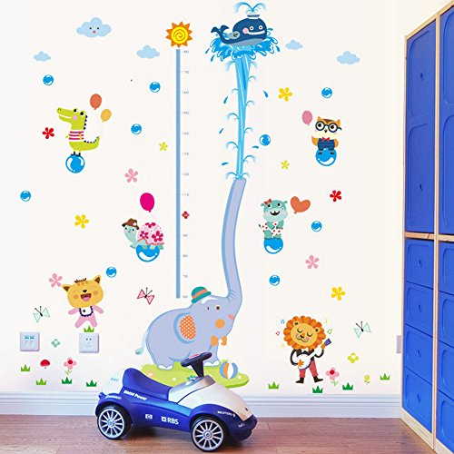 DecalMile Animal Elephant Height Chart Wall Decals Kids Room Wall Decor Removable Wall Stickers for Kids Bedroom Nursery Baby Room Living Room by DecalMile