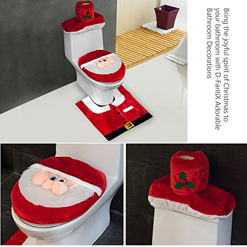 D FantiX 3D Nose Santa Toilet Seat Cover Set Red Christmas Decorations Bathroom Of