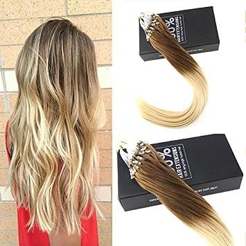 Sunny Ombre Glatt Microring Echthaar Extensions 1gstrahne 24zoll60cm Two Tone Hellbraun Zu Blond Micro Loop Haarverlangerung 50g