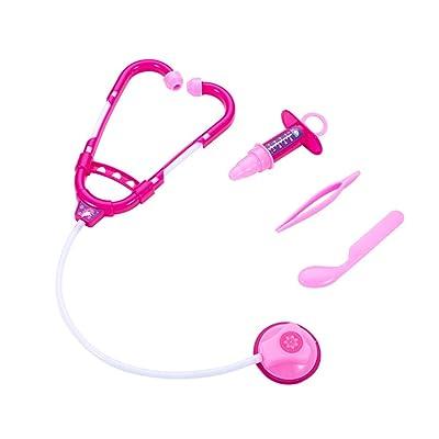 Amosfun 4pcs Kit de Juguete de Doctor para niños Juego de simulación Kit médico Kit de Juego de rol de Doctor de niños (Cuchara de Pinzas de inyector de Estetoscopio): Juguetes y juegos