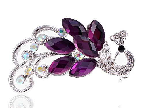 Peachick Costume (Alilang Silvery Tone Purple Crystal Iridescent Colored Rhinestones Peacock Brooch Pin)