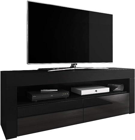 E-com Mueble de TV Luna 140 cm, Color Negro Mate y frentes Negro Brillante: Amazon.es: Hogar