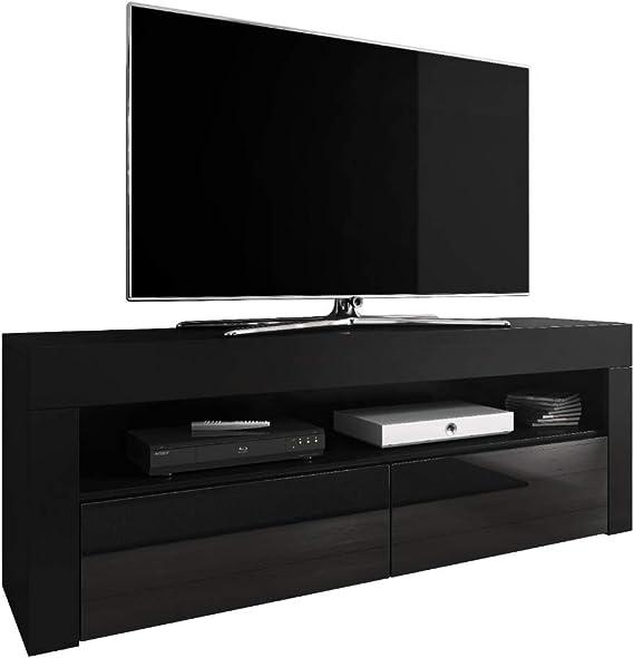 E-com Mueble de TV Luna 140 cm, Color Negro Mate y frentes Negro ...