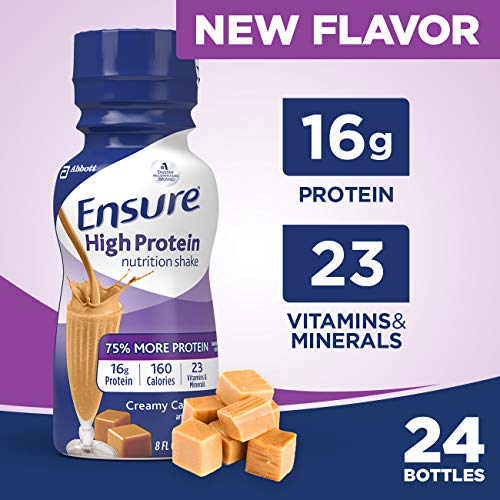 Ensure High Protein Nutritional Shake with 16g of High-Quality Protein, Ready-to-Drink Meal Replacement Shakes, Low Fat, Creamy Caramel, 8 fl oz, 24 Count