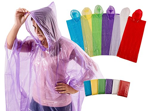 4Happi Rain Poncho with Drawstring Hood, 12 Pack for Emergency. Thicker Material